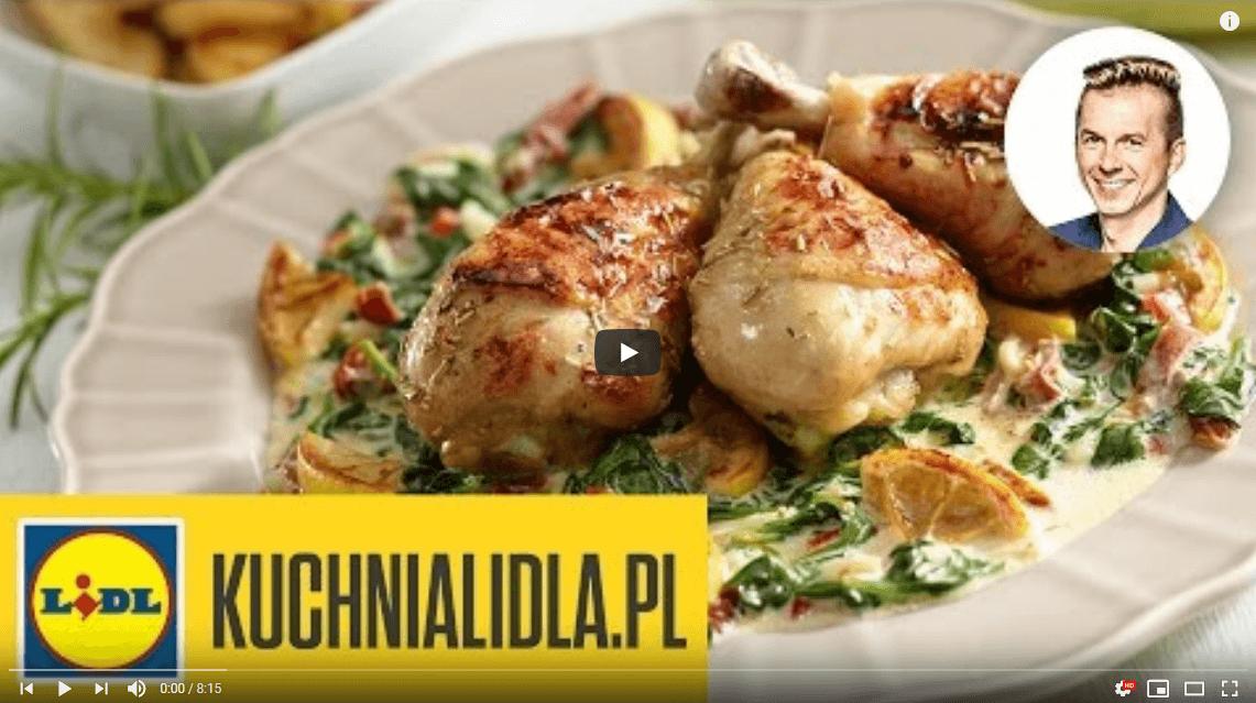 Pieczony kurczak wsezamie naszpinaku zziemniakami – Karol Okrasa – Przepisy Kuchni Lidla