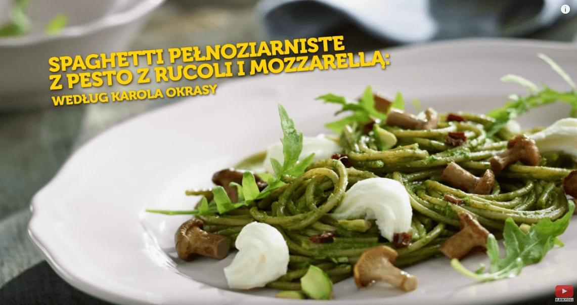 Pełnoziarniste spaghetti zpesto zrukoli – Karol Okrasa – Przepisy Kuchni Lidla